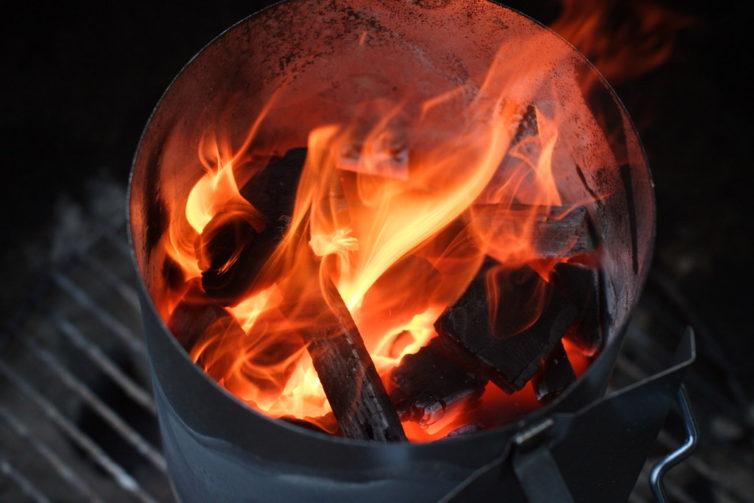 a burning charcoal chimney