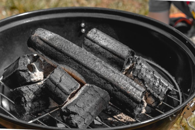 Charcoal in the grill